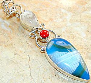 Huge Agate, Moonstone, Coral .925 Silver Multi-gemstone Pendant