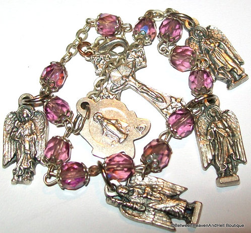 Archangel Charm Bracelet Angel Medals Amethyst Glass Beads, Miraculous Medal