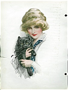Befriended Harrison Fisher Black Cat Vintage Print Illustration