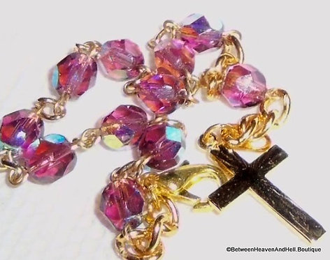 Amethyst Aurora Borealis Beads Rosary Bracelet Goldtone
