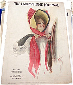 Lady In Red Bow Bonnet Harrison Fisher Ladies Home Journal Cover