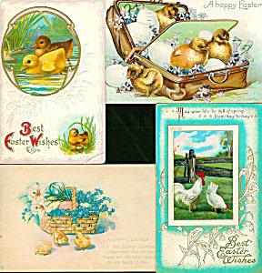 Antique Postcards Lot Easter Ducks Chick Rooster Hen