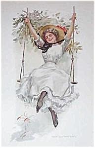 Harrison Fisher Print: The Summer Girl On Swing Flower Garden