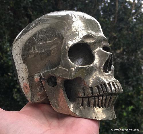 Activated Large Pyrite Skull Abundance Divination Good Luck Prosperity Sculpture
