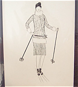 Art Deco Fashion Pen And Ink Drawing Lady Skiing Ski