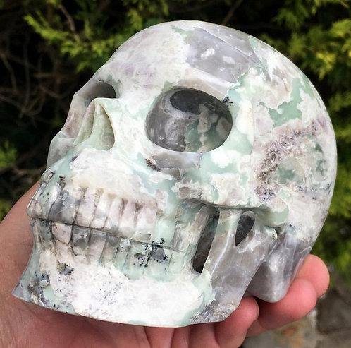 "5.2"" Activated Large Pink Green White Dendritic Jasper Skull Archangel Raphael"
