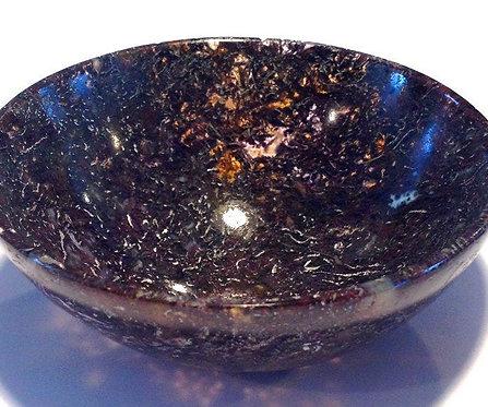 Dark Moss Plum Jasper Gemstone Bowl - Connect with Archangels, Guides, Spirits