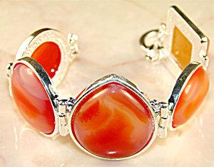 Gemstone Jewelry: Big Botswana Agate Silver Bracelet
