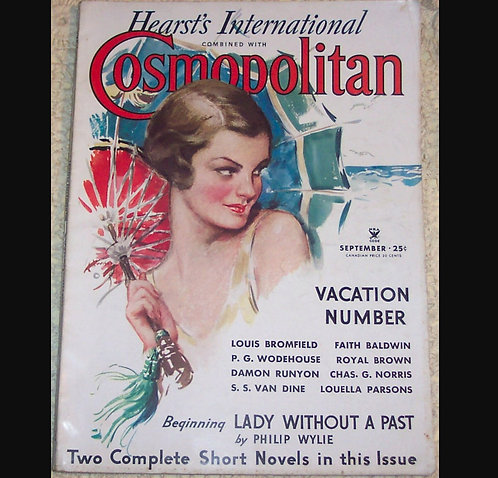 1934 Vintage Cosmopolin Magazine Harrison Fisher Cover Lady Beach Parasol