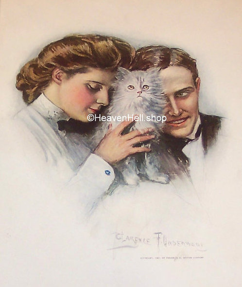 1907 Vintage Kitten & Cat Art Prints, White Cat Clarence Underwood Cat Decor