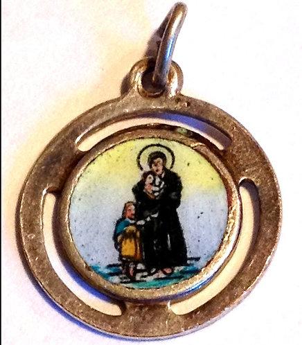 Antique Enamel Saint Vincent De Paul Medal Pendant Mens Ladies