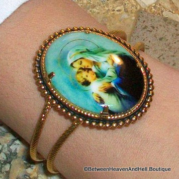 Large Madonna And Child Cameo Cuff Bracelet, Handmade religious jewelry