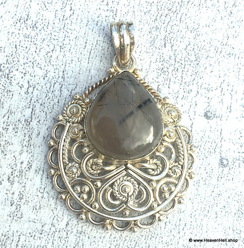Large Smoky Quartz Black Tourmaline Pendant Sterling Silver Jewelry