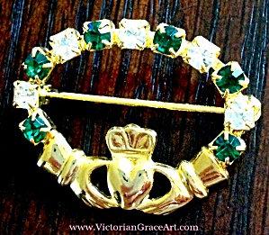 Irish Claddagh Green Rhinestone Pin Gold Tone Brooch