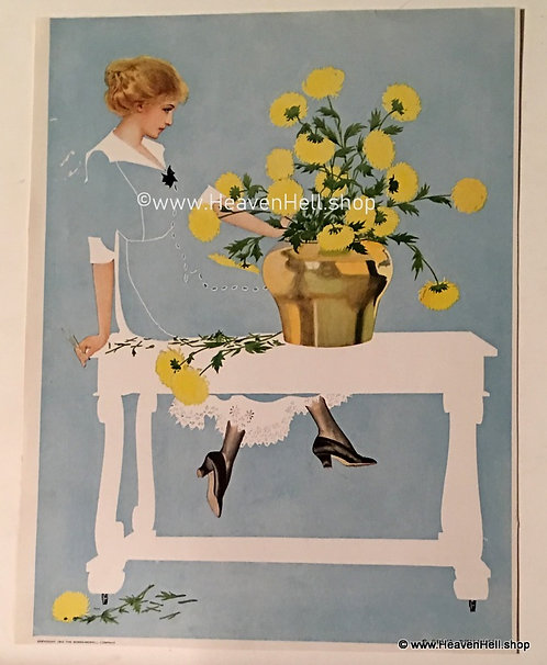 1912 Vintage Coles Phillips Print Fade Away Girl Arranging Yellow Flowers