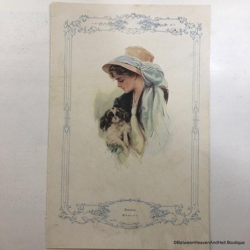 Antique 1913 Dog Print: Edwardian Lady And Pekingese, Harrison Fisher