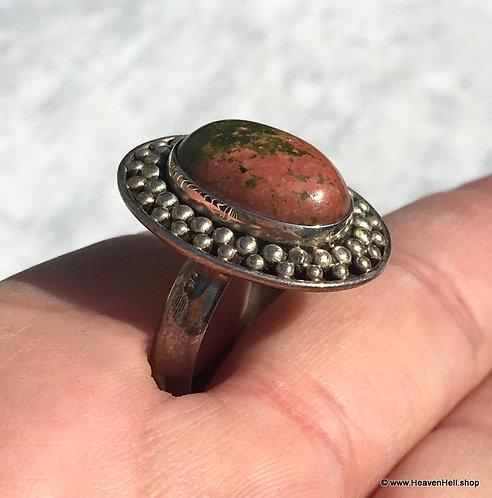 Vintage Unakite Sterling Gemstone Ring 8, Remove blocks, Silver Jewelry