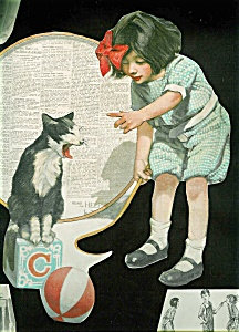 Girl And Kitten Victorian Scrapbook Page Cat Print