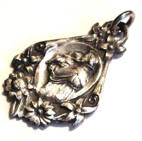 Vintage Saint Anthony Holy Medal Floral Pendant Art Nouveau Religious Jewelry