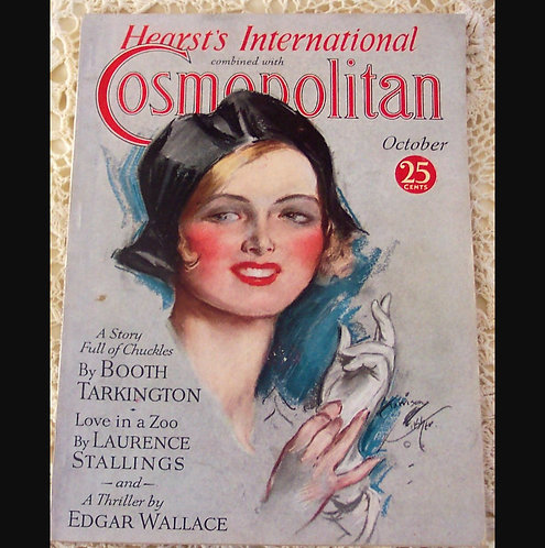 1931 Vintage Cosmopolitan Magazine Harrison Fisher Cover Art Deco Woman, Ads