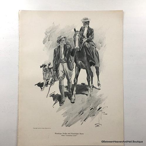 1906 Vintage Print Equestrian Romance, Romantic Victorian Couple