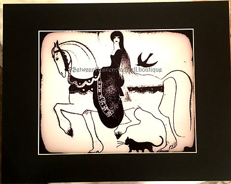 Princess on horse w/Black Cat Altered Art Giclee Print Gothic Wiccan Decor 11x14