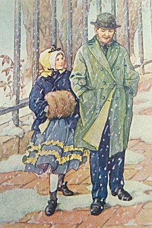 Antique Vintage Cm Burd Print Victorian Daughter & Father Walking