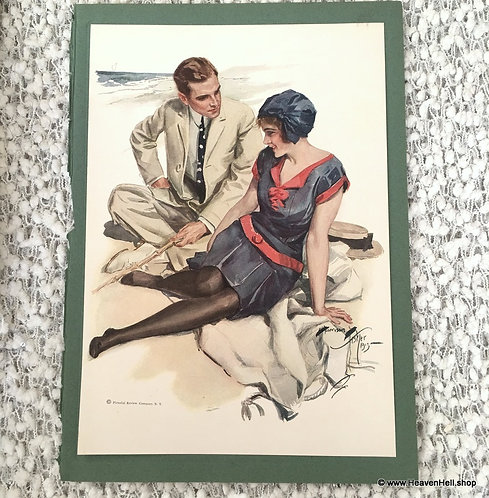 1913 Vintage Harrison Fisher Print Vacation Days, Romance at the Beach