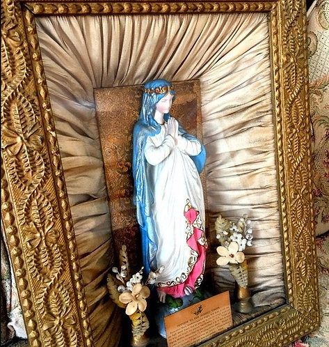 Antique 1800's Virgin Mary Shadow Box Shrine Chalkware Statue Prayer Petition