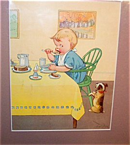 Charles Twelvetrees Print, Boy Eating Breakfast
