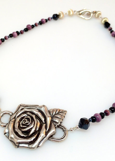 Purple Cat's Eye Upcycled Recycled Silver Tone Rose Necklace with Sentiment