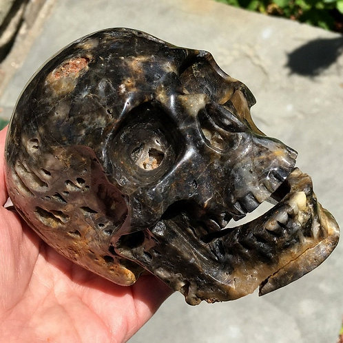 Maurice is a Large Activated Black Druzy Agate Singing Skull - Good Luck, Magick