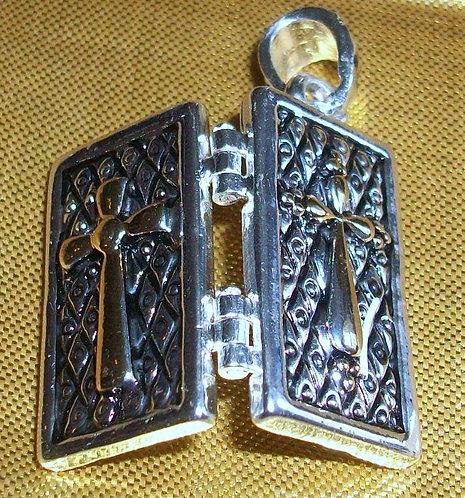 Cross Locket Pendant: God Box Prayer Box Wish Box Christian Jewelry