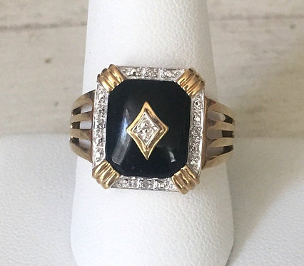 Vintage 10k Gold  Black Onyx & Diamond Ring Size 10 - Protection & luck Jewelry