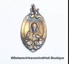 Art Nouveau Sacred Heart Of Jesus Medal Vintage Scapular Sterling Silver