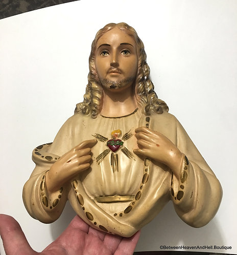 "Large 10"" Vintage Chalkware Sacred Heart of Jesus Statuary Detailed Wall plaque"