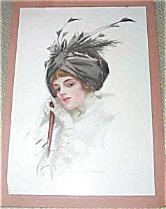 Print-harrison Fisher Victorian Lady Feather Turban Tempting Lips