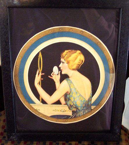 Original Vintage Coles Phillips Print: Art Deco Lady At Vanity illustration