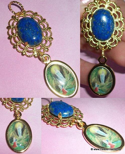 """2.75"""" Long Our Lady Of Lourdes Lapis Lazuli Gemstone Religious Artisan Pendant"""