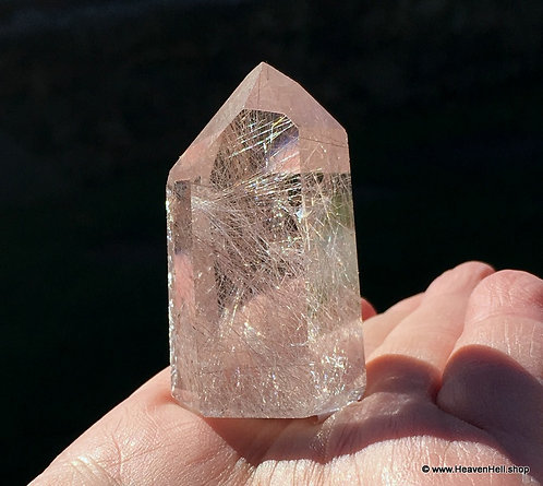 Water Clear Silver Rutilated Quartz Crystal, Standing Point, High Frequency