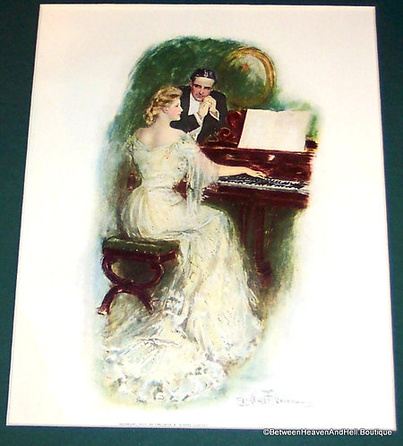 1905 Vintage Art Print Piano Music Romance Clarence Underwood