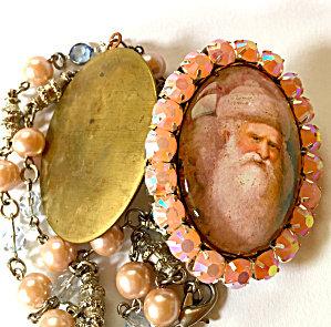 Vintage Victorian Santa Claus Cameo Locket Pink Opal Rhinestone Necklace