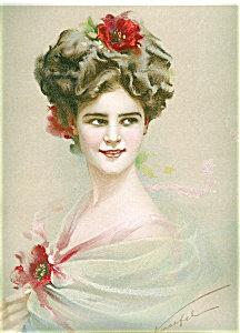 Victorian Edwardian Glamour Ladies Prints: Lady W/ Flowers