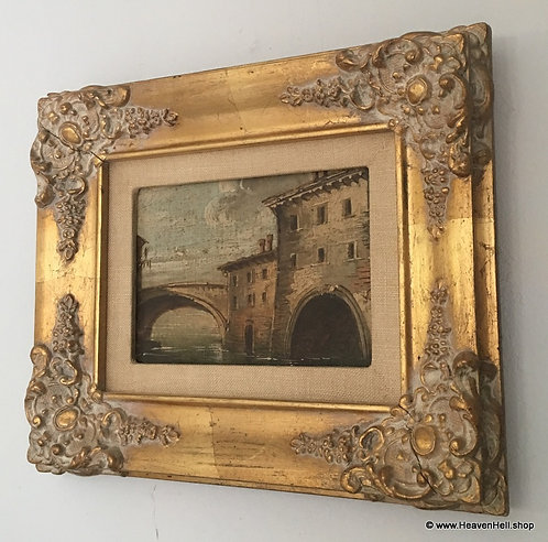 Antique Oil Painting Gold Whitewashed Ornate wood Frame, Italian artwork