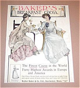 Vintage Print Kitchen Teacup Tea Ad Bakers Breakfast Cocoa