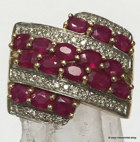 Large 14k Gold Passion Ruby Ring w/ Diamond Accents Size 9.25, 3 carats Le Vian