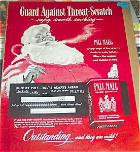 Vintage 1950's Smoking Santa Claus Cigarette Ad Pall Mall