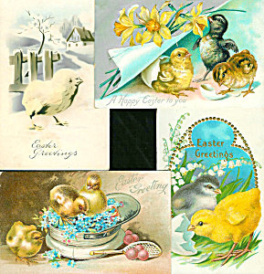 Antique Easter Postcards Lot Of 4 Chicks, Eggs, Flowers