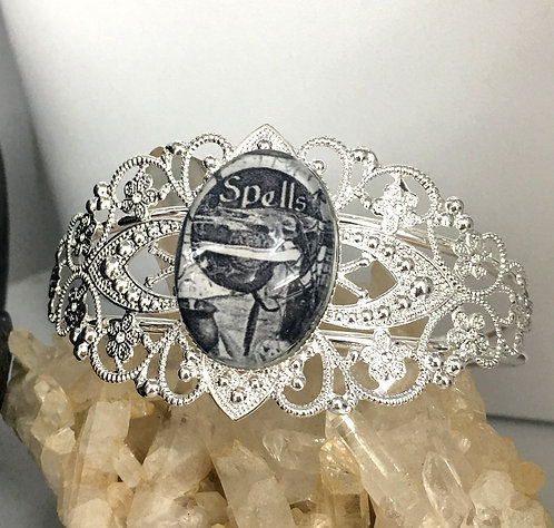 Spells Atlered Art Cuff Bracelet - Magick, Witch, Witchcraft, Halloween Jewelry