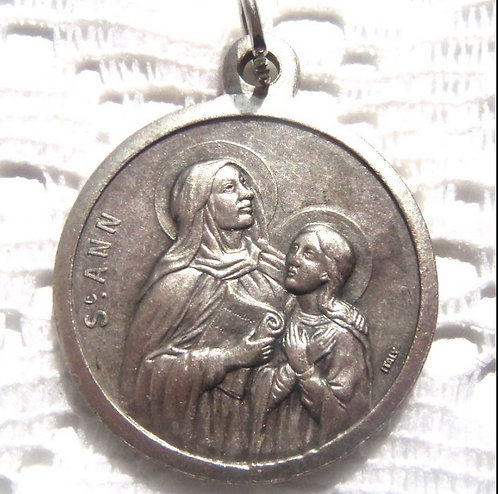 "1.5"" Large Vintage Saint Ann Virgin Mary Guardian Angel Medal Religious Jewelry"